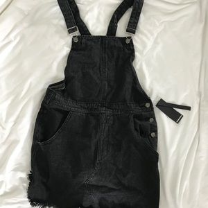 Black Overall/Dungaree Pinafore Dress